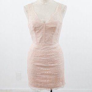 Monique Lhuillier 4 Lace Mini Dress Blush Pink